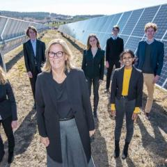 Professor Peta Ashworth pictured with UQ Liveris Academy scholars at the Warwick Solar Farm