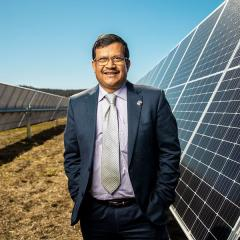 Professor Tapan Saha at the UQ Warwick Solar Farm.